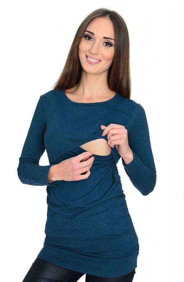 MijaCulture - bluzka 2 w 1 ciążowa i do karmienia długi rękaw M01/3070 niebieski 1