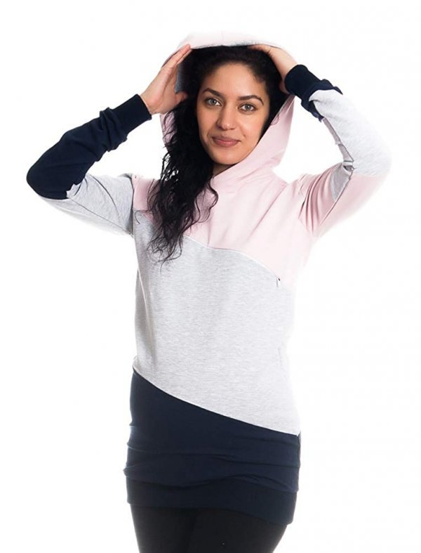 Wygodna bluza ciążowa i do karmienia 9094 róż/melnż 6