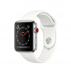 Apple Watch Series 3 / GPS + LTE / Koperta 42mm ze stali nierdzewnej w kolorze srebrnym / Pasek sportowy w kolorze białym - pcozone