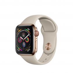 Apple Watch Series 4 / GPS + LTE / Koperta 40mm ze stali nierdzewnej w kolorze złotym / Pasek sportowy w kolorze piaskowca