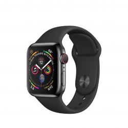 Apple Watch Series 4 / GPS + LTE / Koperta 40mm ze stali nierdzewnej w kolorze gwiezdnej czerni / Pasek sportowy w kolorze czarnym - pcozone