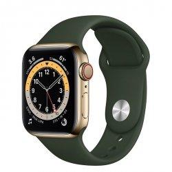 Apple Watch Series 6 40mm GPS + LTE (cellular) Stal nierdzewna w kolorze złotym z paskiem sportowym w kolorze cypryjskiej zieleni