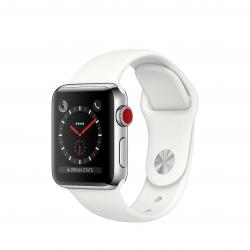 Apple Watch Series 3 / GPS + LTE / Koperta 38mm ze stali nierdzewnej w kolorze srebrnym / Pasek sportowy w kolorze białym