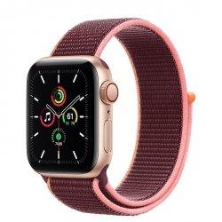 Apple Watch SE 40mm GPS + LTE (cellular) Aluminium w kolorze złotym z opaską sportową w kolorze śliwkowym - nowy model