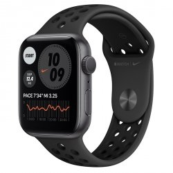 Apple Watch Nike Series 6 44mm GPS Aluminium w kolorze gwiezdnej szarości z paskiem sportowym Nike w kolorze antracytu / czarnym - pcozone