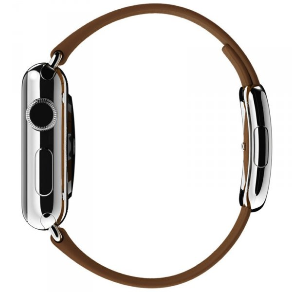 Apple Watch 38mm Stainless Stell Modern Buckle Brown Leather A1553