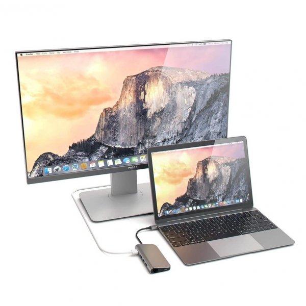 Satechi USB-C Multiport Ethernet HUB - 3xUSB 3.0 / Ethernet / HDMI / USB-C (PD) / SD / microSD Space Gray / (gwiezdna szarość)