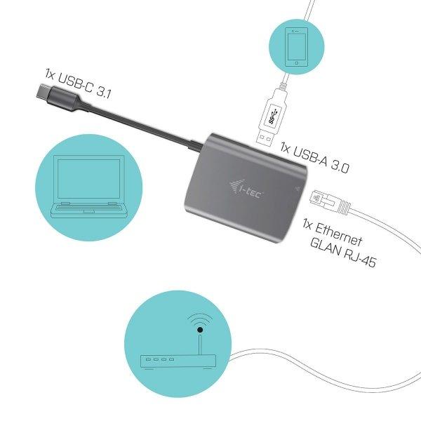i-tec USB-C Metal Hub USB-C do RJ-45/USB 3.0, kompatybilny z Thunderbolt 3