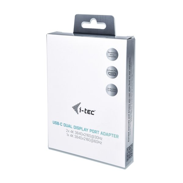 i-tec USB-C Dual Display Port Video Adapter 2x Display Port 4K Ultra HD kompatybilny z Thunderbolt3