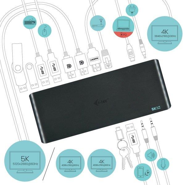 i-tec USB 3.0 / USB-C / Thunderbolt 3, 3x 4K Docking Station + Power Adapter 135W
