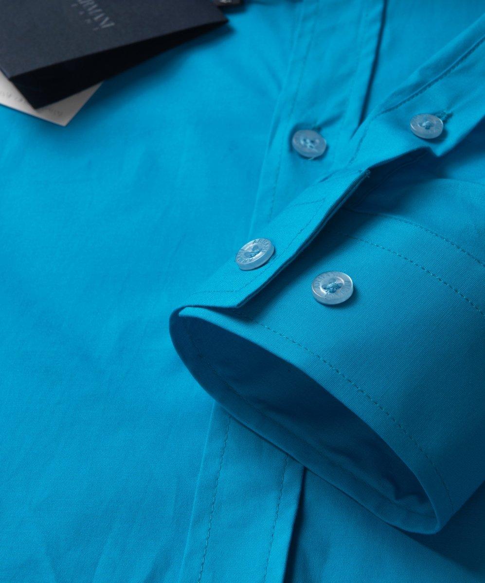 Armani Jeans koszula męska gładka turkusowa KOSZULE