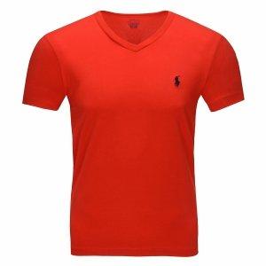 Polo Ralph Lauren koszulka t-shirt męski V-neck slim fit czerwona
