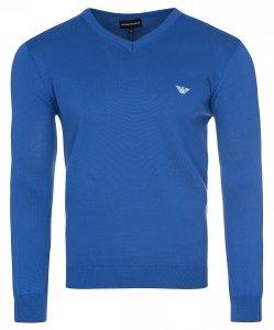 Emporio Armani sweter męski gładki niebieski