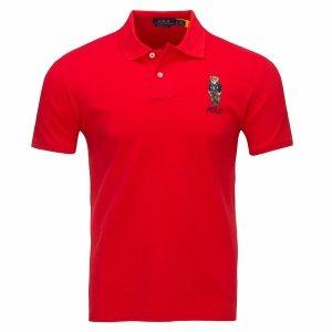 Ralph Lauren Miś Teddy Bear koszulka polo polówka męska Slim Fit czerwona