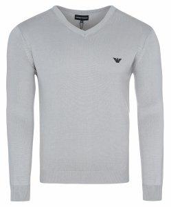 Emporio Armani sweter męski gładki szary