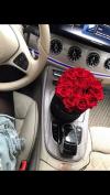 Czerwone żywe WIECZNE róże w średnim velvet czarnym boxie