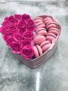 Duży Box serce róże swieze ,żywe i ciasteczka makaroniki