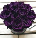 Fioletowe żywe WIECZNE róże w średnim czarnym boxie