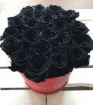 Czarne żywe WIECZNE róże w dużym czerwonym boxie