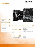 Płyta główna B450 PRO4 AM4 4DDR4 DSUB/DP/HDMI/M.2/USB3.1 ATX