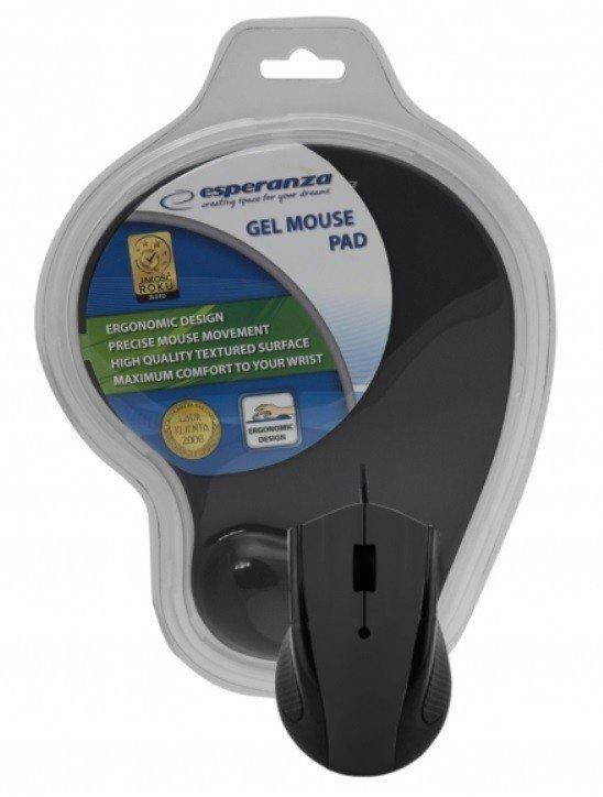 Przewodowa mysz optyczna z podkładką żelową. 1200 DPI, trzy przyciski, czarna