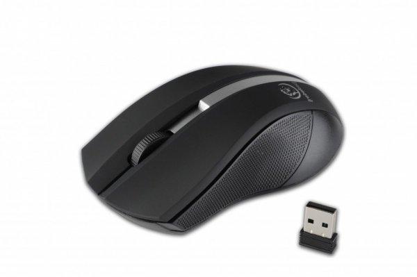 Bezprzewodowa mysz optyczna, GALAXY Black/silver, powierzchnia gumowana