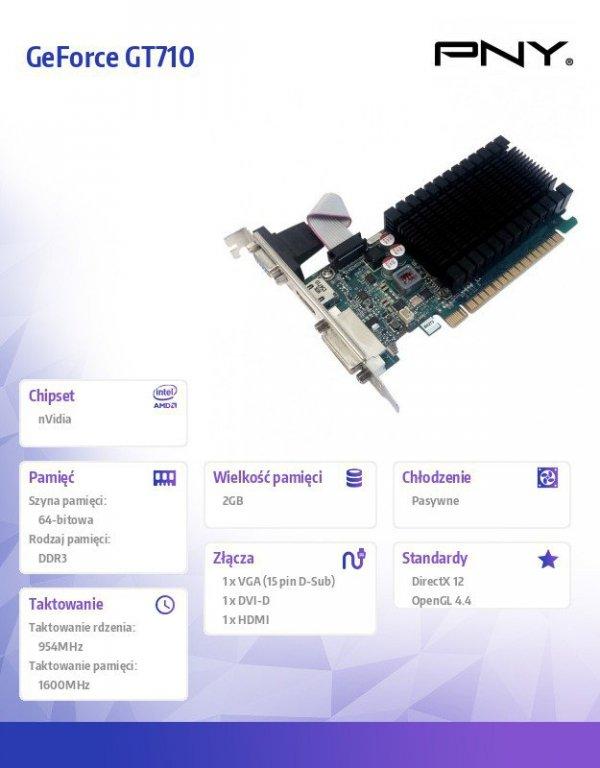 GeForce GT710 2GB DDR3 64bit DVI/VGA/HDMI