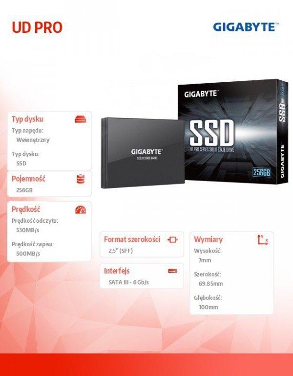 Dysk SSD UD PRO 256GB 2,5 SATA3 530/500MB/s 7mm