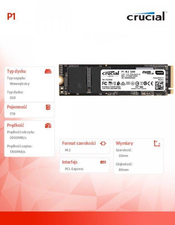 Dysk SSD P1 1000GB M.2 PCIe NVMe 2280 2000/1700MB/s