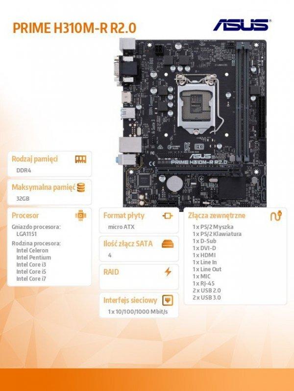 Płyta główna PRIME H310M-R R2.0 s1151 2DDR4  DVI/DSUB/HDMI uATX