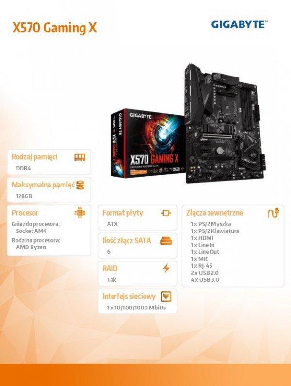 Płyta główna X570 Gaming X AM4 4DDR4 HDMI/USB 3.1 ATX