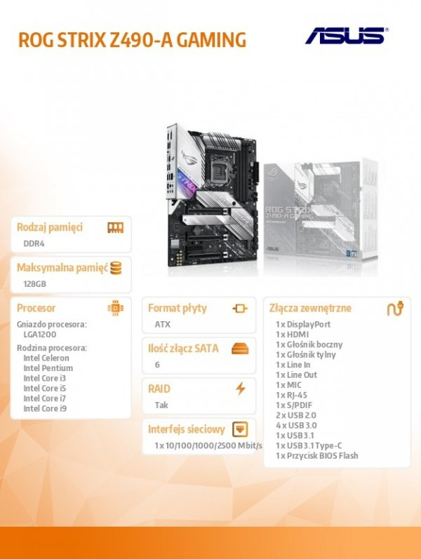 Płyta główna ROG STRIX Z490-A GAMING s1200 4DDR4 DP/HDMI ATX