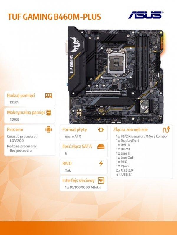 Płyta główna TUF GAMING B460M-PLUS s1200 4DDR4 DP/HDMI ATX
