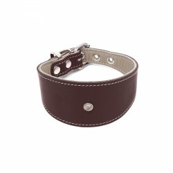 Leather collar GLAMOUR brown for greyhounds