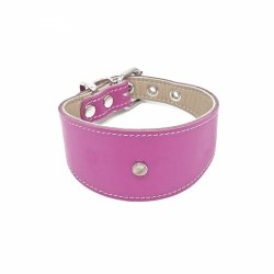 Leather collar GLAMOUR pink for greyhounds