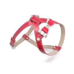 Skórzane szelki PRESTIGE czerwone dla małego psa
