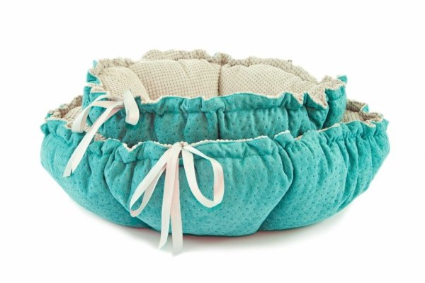 DAISY doubleside bed turquoise quilted and gray