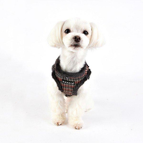 ocieplane, szare szelki - kamizelka dla psa od Puppia
