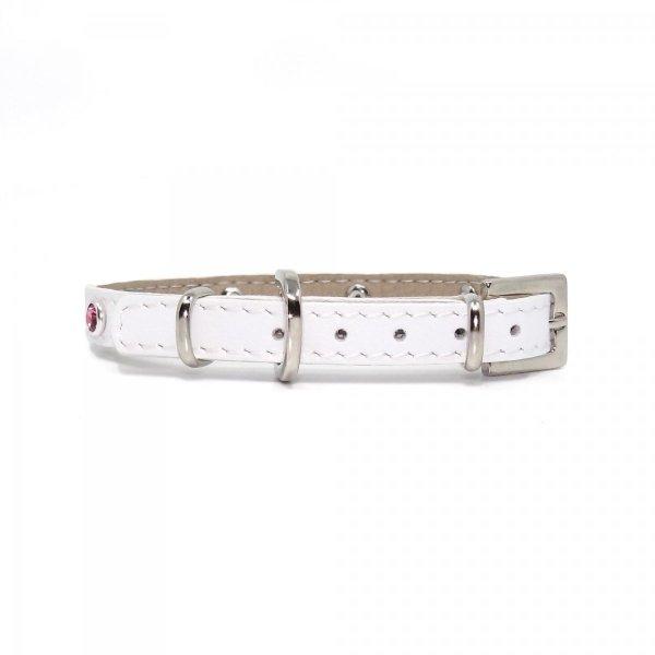 Luksusowa obroża GLAMOUR biała z kryształkami SWAROVSKIEGO® ROSE