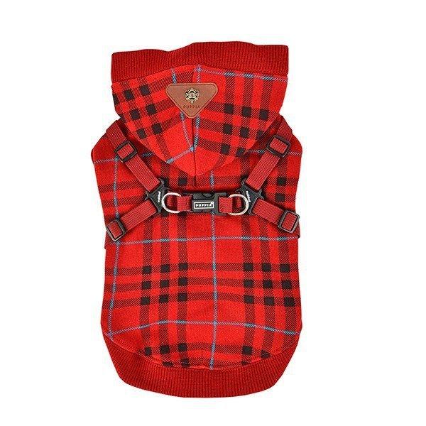 Czerwona bluza w kratkę z zintegrowanymi szelkami od Puppia