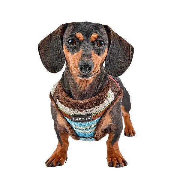 Ocieplane szelki dla psa w kolorowe etniczne paski od Puppia