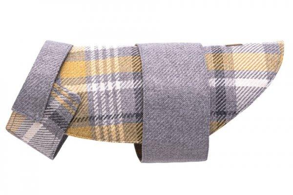 Stylowy płaszczyk dla psa LEAF szary w kratkę.