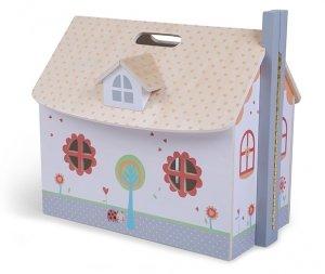 Drewniany otwierany domek dla lalek meble Ecotoys