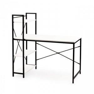 Biurko komputerowe biurowe stół + regał półki LOFT białe