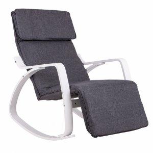 Fotel bujany regulowany podnóżek biała rama