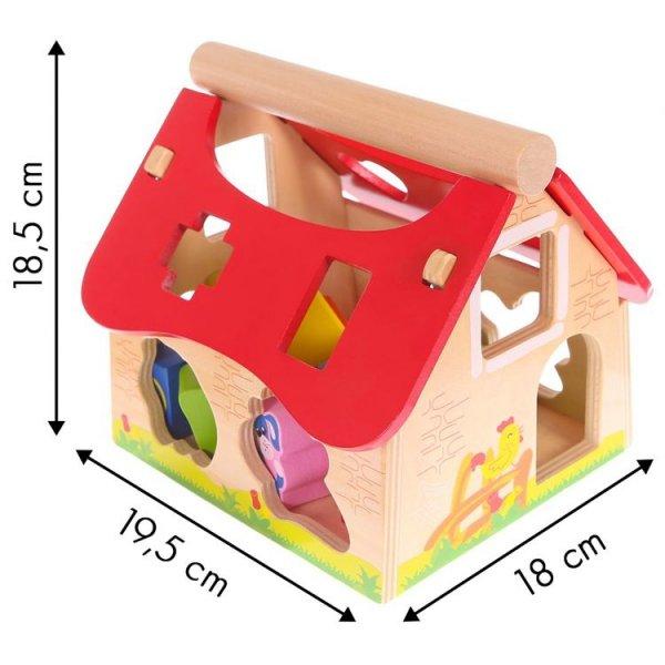 Drewniany domek, farma sorter z klockami Ecotoys