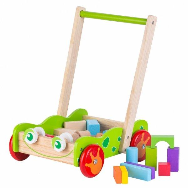 Drewniany wózek pchacz + klocki drewniane Ecotoys