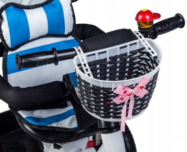 Rower trójkołowy wózek jeździk obracany Niebiesko-Biały Ecotoys