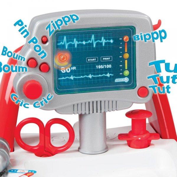 Smoby Elektroniczny Wózek Lekarski dźwięk + Stetoskop w zestawie