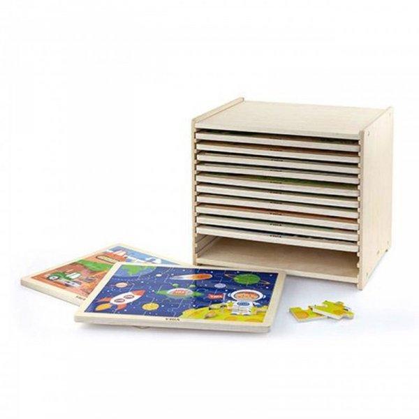 Puzzle drewniane 12 układanek po 24 puzzle na regale Viga Toys